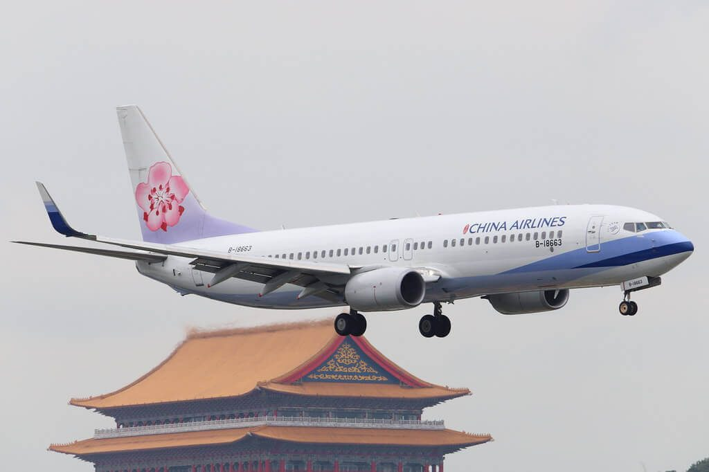 China Airlines Boeing 737 8ALWL B 18663 at Taipei Songshan Airport