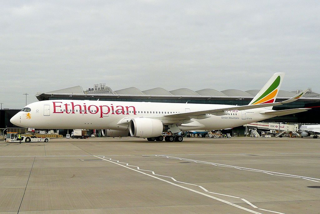 Ethiopian Airlines Airbus A350 941 ET ATQ Simien Mountains at London Heathrow Airport
