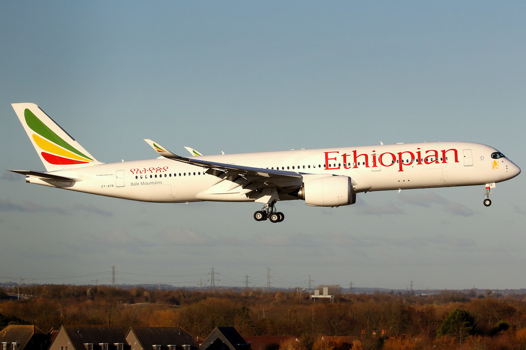 Ethiopian Airlines Airbus A350 941 ET ATR Bale Mountains at London Heathrow