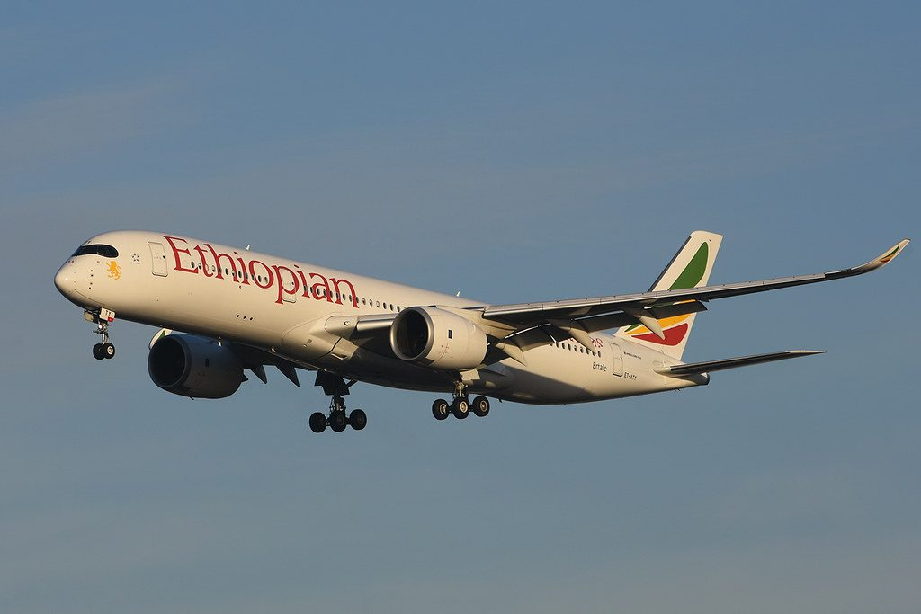 Ethiopian Airlines Airbus A350 941 ET ATY Ertale at London Heathrow Airport