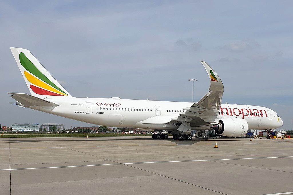 Ethiopian Airlines Airbus A350 941 ET AWM Rome at London Heathrow
