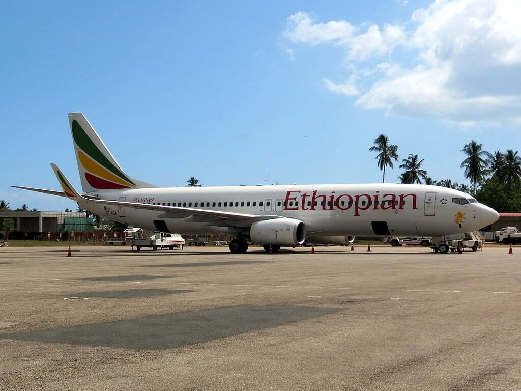 Ethiopian Airlines Boeing 737 8HOWL ET AOA at Zanzibar International Airport