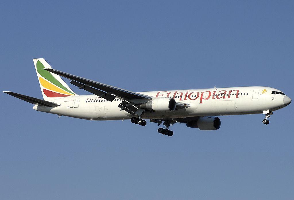 Ethiopian Airlines Boeing 767 360ERWL ET ALJ at Fiumicino Airport