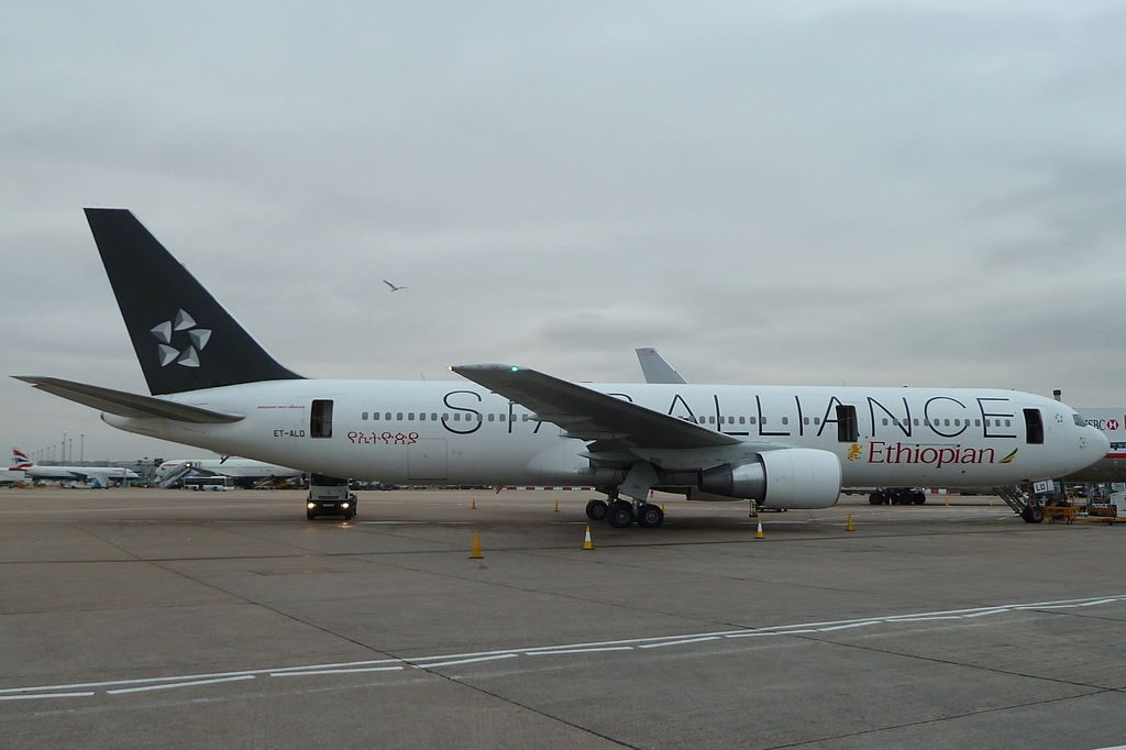 Ethiopian Airlines Boeing 767 360ERWL ET ALO Star Alliance Livery at London Heathrow Airport