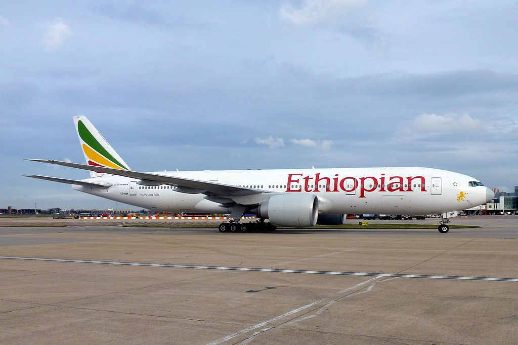 Ethiopian Airlines Boeing 777 260LR ET ANP The Victoria Falls at London Heathrow Airport