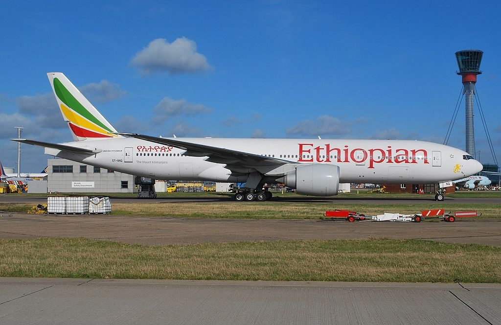 Ethiopian Airlines Boeing 777 260LR ET ANQ The Mount Kilimanjaro at London Heathrow Airport