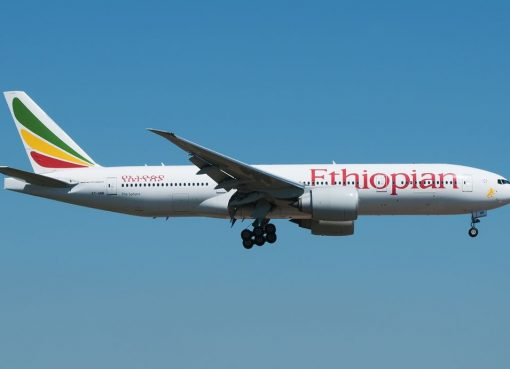 Ethiopian Airlines Boeing 777 260LR ET ANR The Sahara at Fiumicino Airport