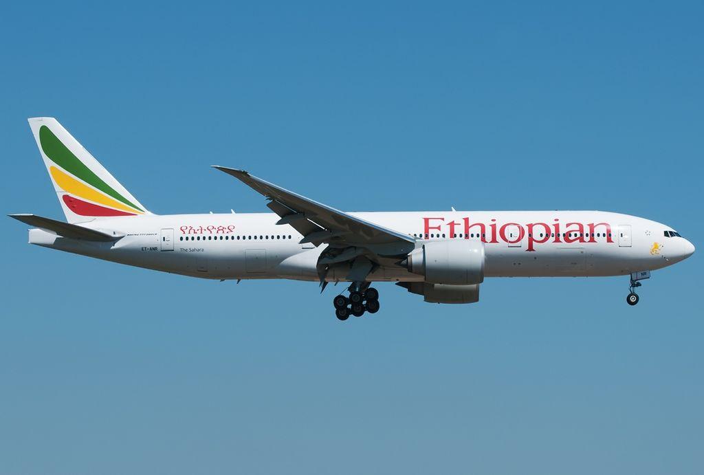 Ethiopian Airlines Boeing 777 260LR ET ANR The Sahara at Fiumicino Airport