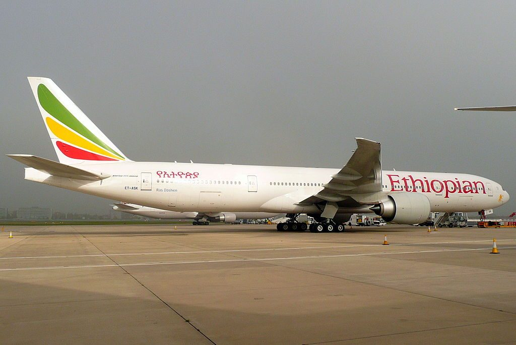 Ethiopian Airlines Boeing 777 36NER ET ASK Ras Dashen at London Heathrow Airport