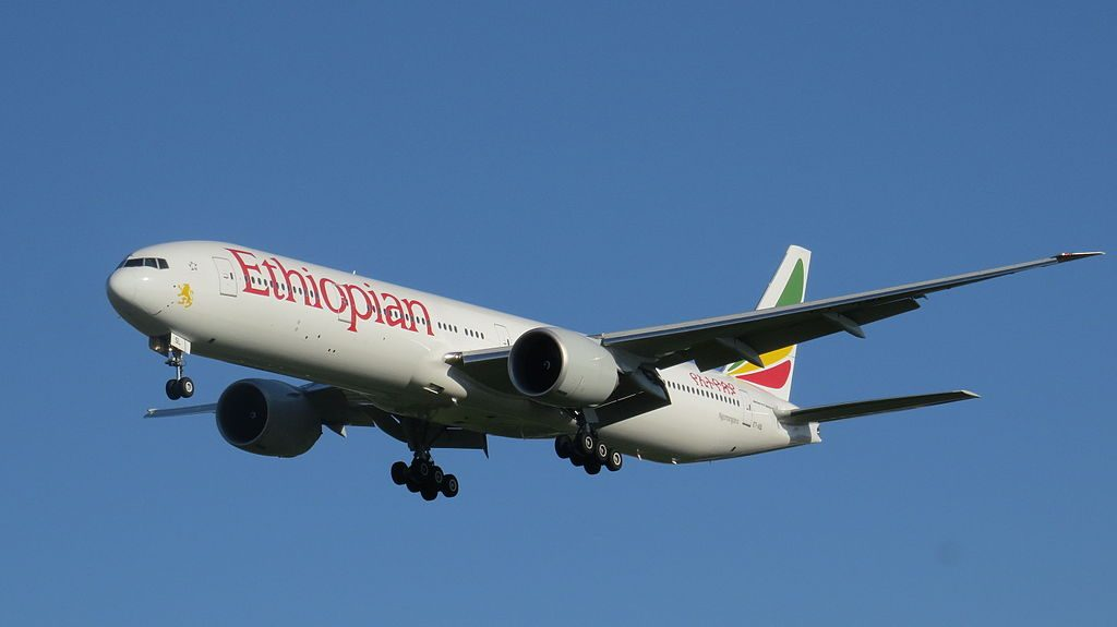 Ethiopian Airlines Boeing 777 36NER ET ASL Ngorongoro at Beijing Capital International Airport