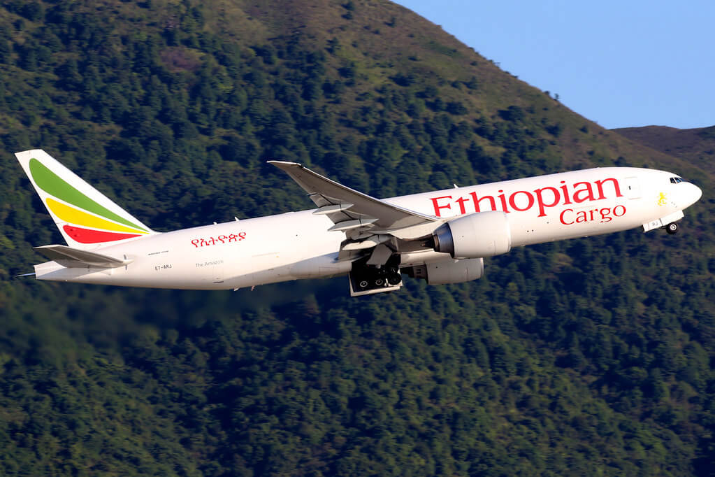 Ethiopian Airlines Boeing 777 F60 cargo ET ARJ The Amazon at Hong Kong International