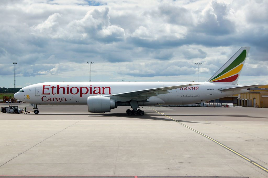 Ethiopian Airlines Boeing 777 F6N cargo ET APS The Renaissance Dam at Malmo Airport ESMS