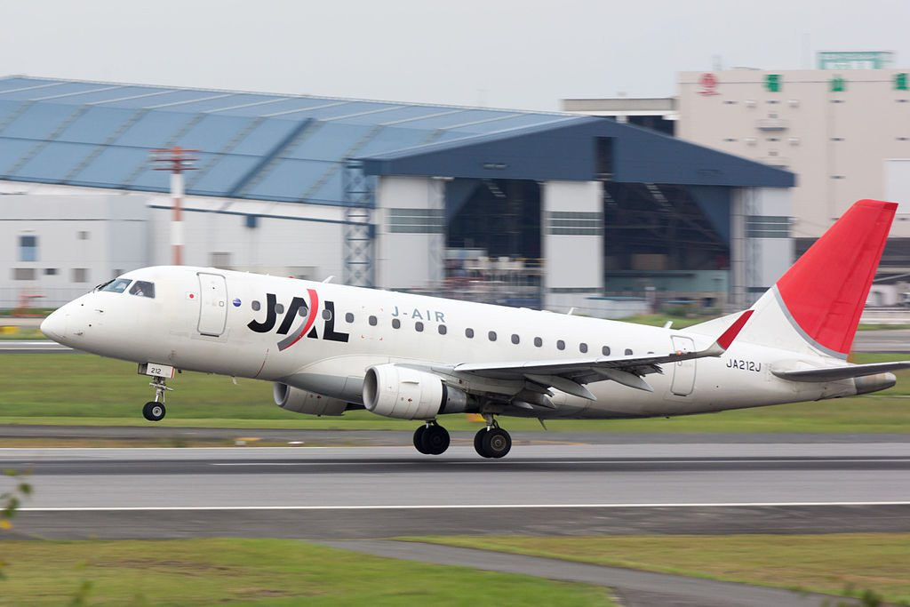 JA212J Embraer 170 of JAL J Air at Osaka International Airport