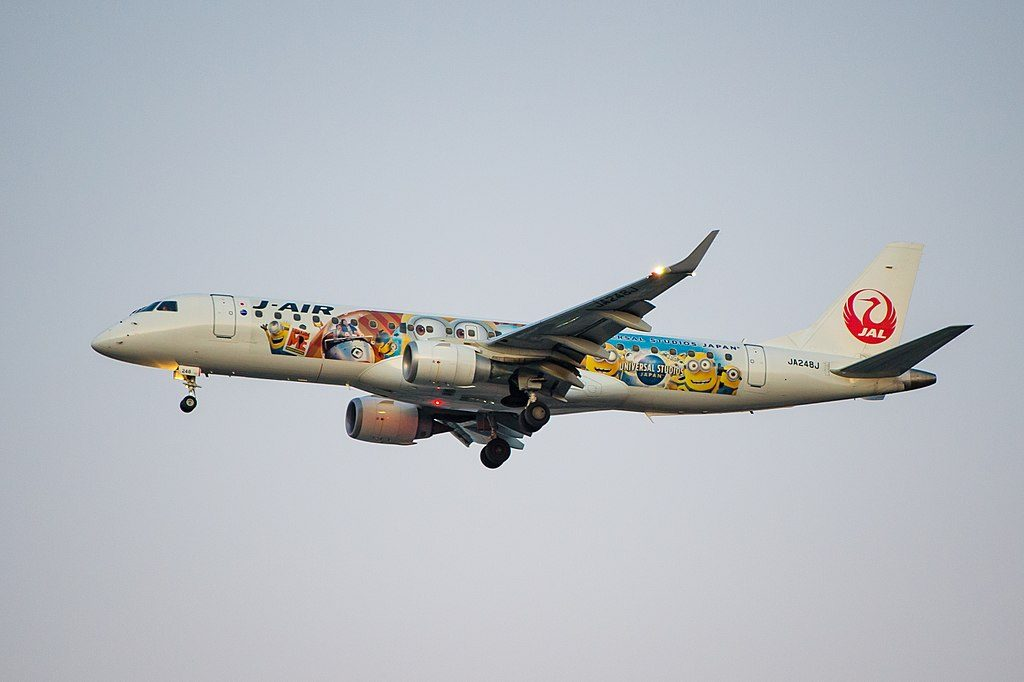 JA248J JAL J Air Embraer ERJ 190 Minions Jet at Osaka International Airport