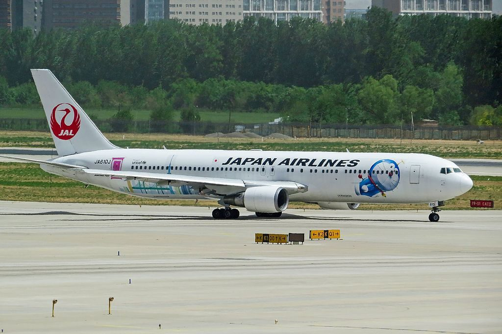JA610J Boeing 767 346ER Japan Airlines JAL Doraemon Livery at Beijing Capital International Airport