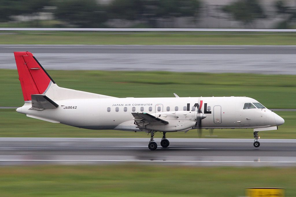 JAC Japan Air Commuter Arc of the Sun livery Saab340B JA8642 at Osaka International Airport