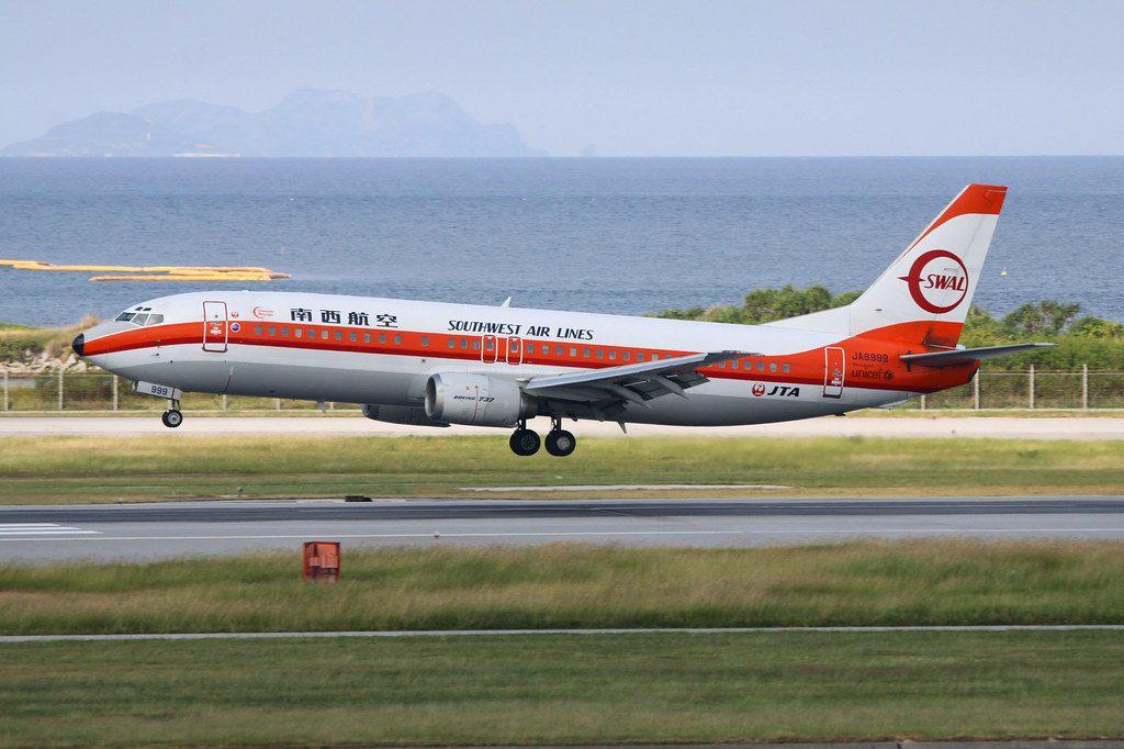 JAL JTA Japan Transocean Air Boeing 737 400 JA8999 SWAL retro livery