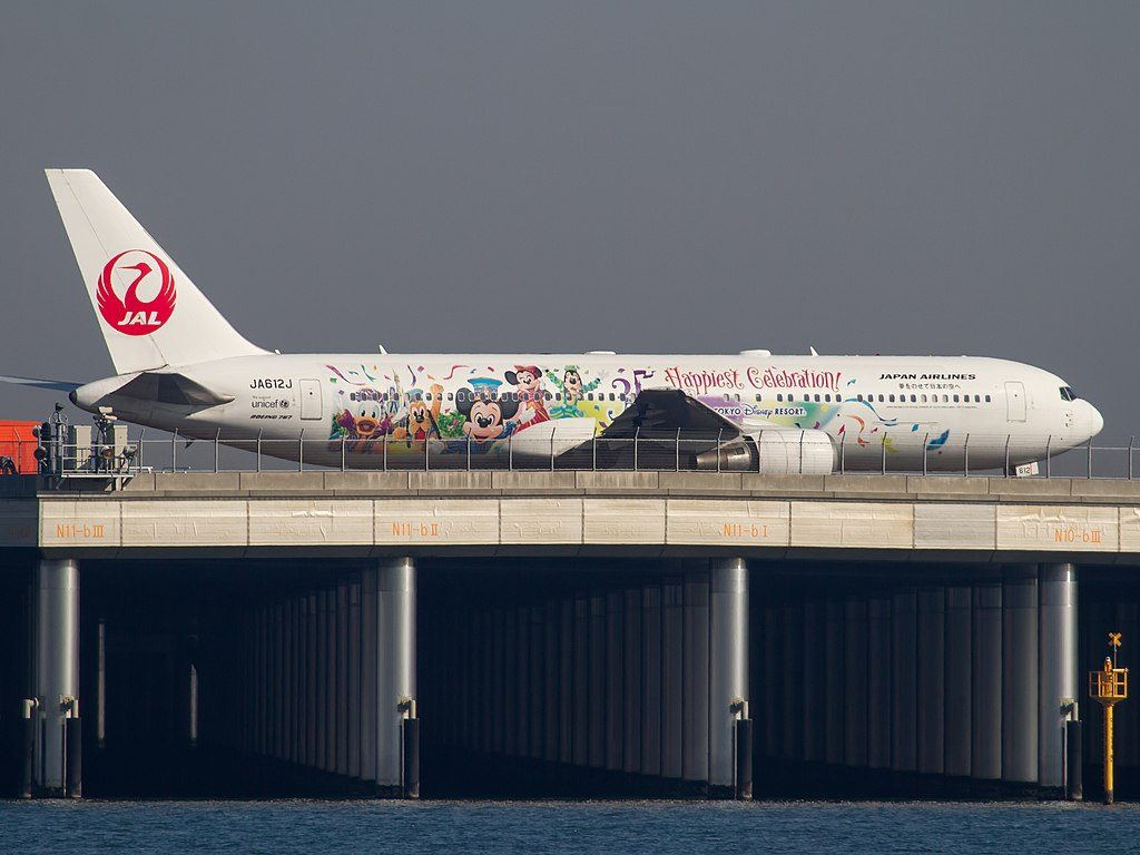 JAL Japan Airlines JA612J Boeing 767 346ER Disney Happiest Celebration livery at Haneda Airport