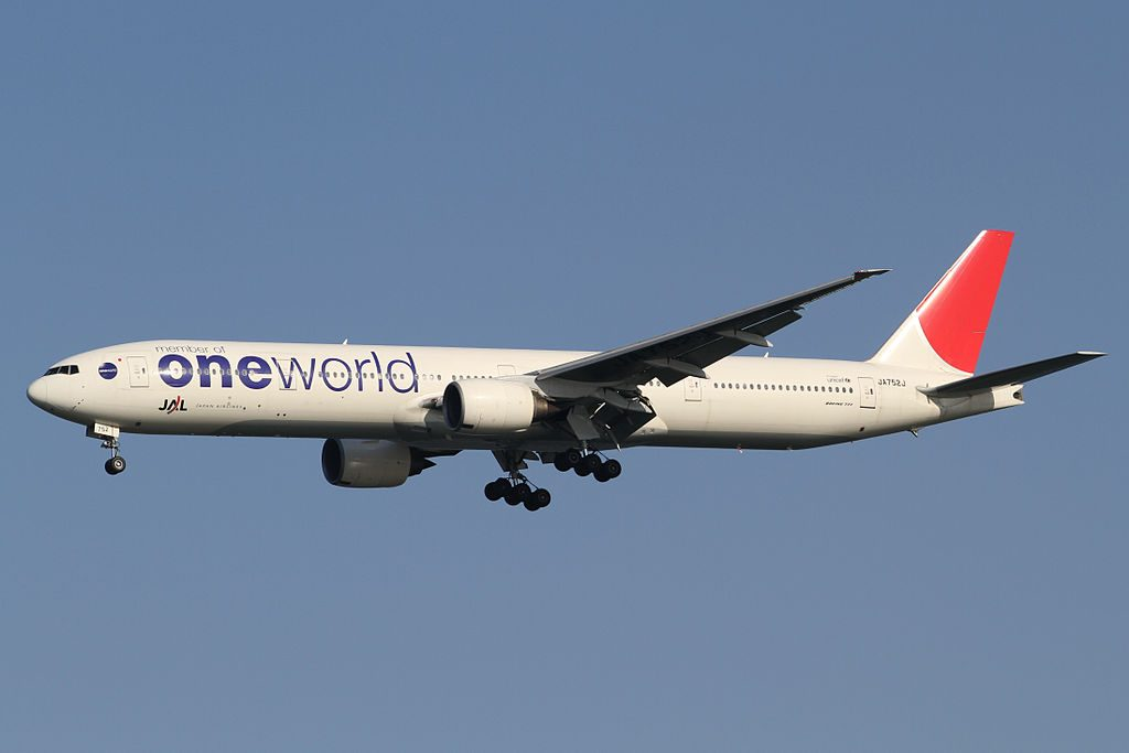 JAL Japan Airlines oneworld livery JA752J Boeing 777 346 at Tokyo International Airport
