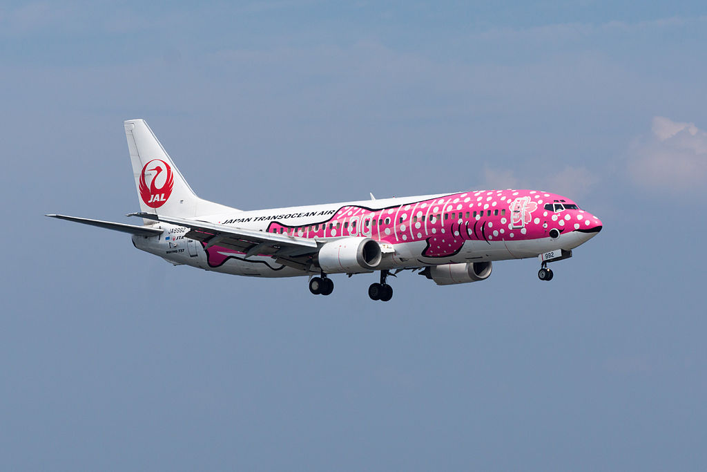 JAL Japan Transocean Air Boeing 737 446 JA8992 The Whale Shark with Cherries Livery at Kansai International Airport