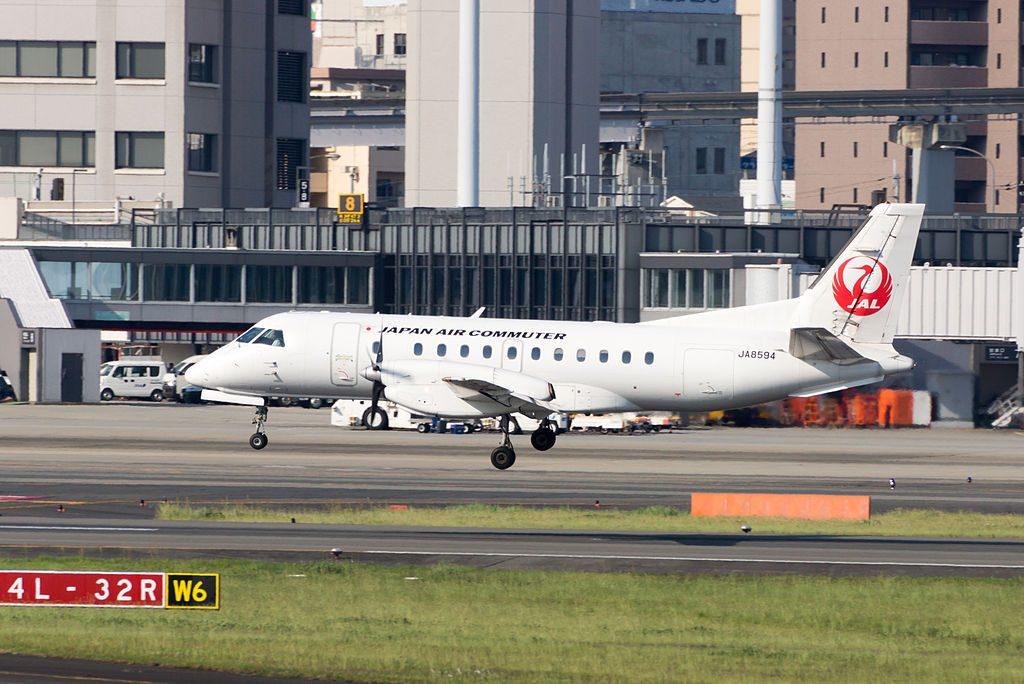 Japan Air Commuter tsurumaru livery Saab 340B JA8594 at Osaka International Airport