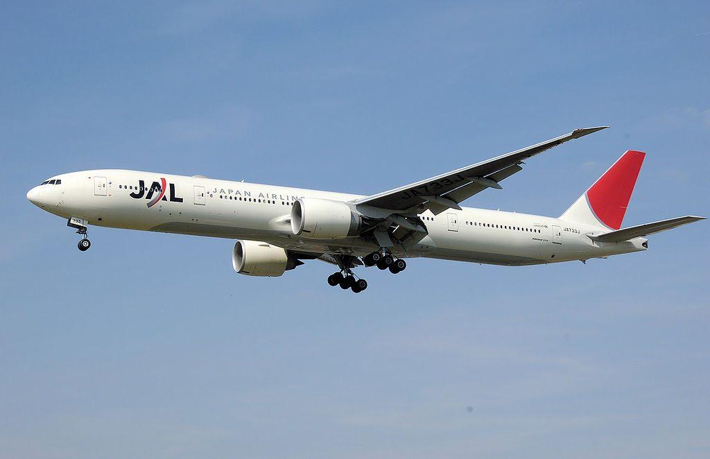 Japan Airlines JAL Boeing 777 346ER JA733J landing at London Heathrow Airport