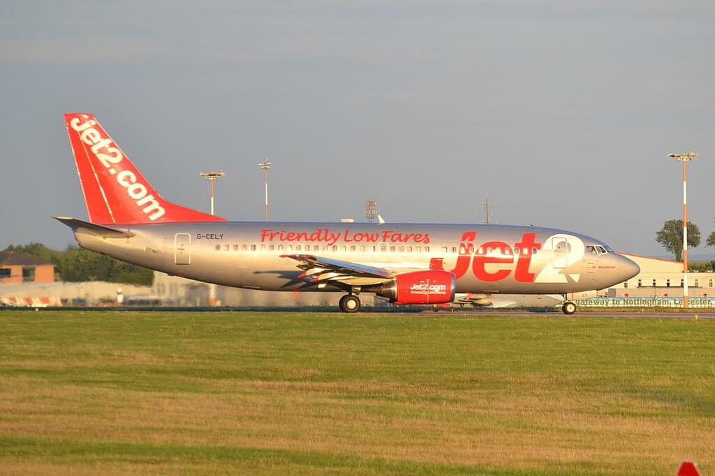 Jet2 Glasgow G CELY Boeing 737 377BDQC at East Midlands Airport