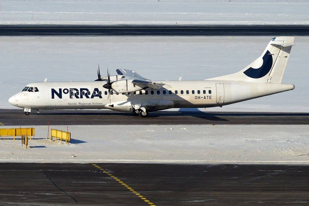 Nordic Regional Airlines NORRA Finnair OH ATE ATR 72 500 at Helsinki Vantaa Airport