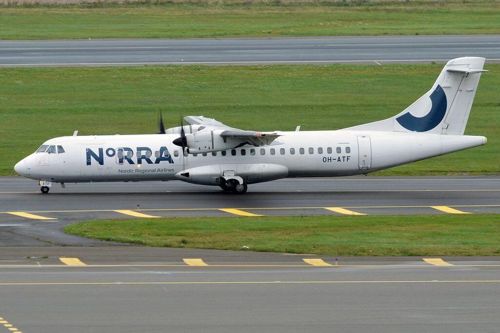 Nordic Regional Airlines NORRA Finnair OH ATF ATR 72 500 at Helsinki Vantaa Airport