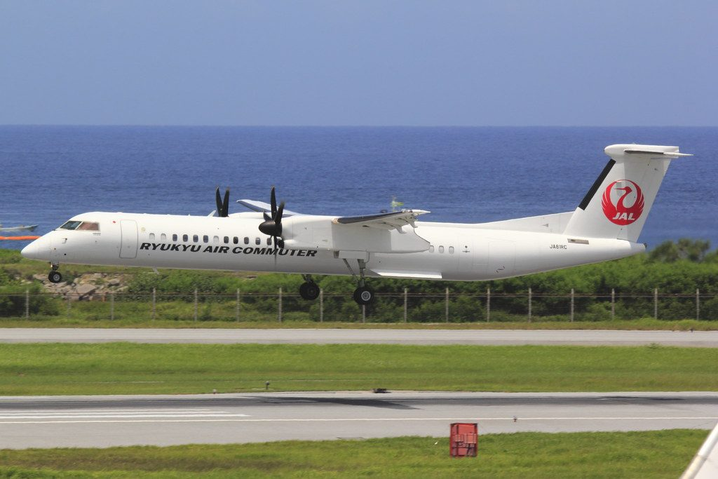 Ryukyu Air Commuter Bombardier DHC 8 Q400CC JA81RC at Naha Airport