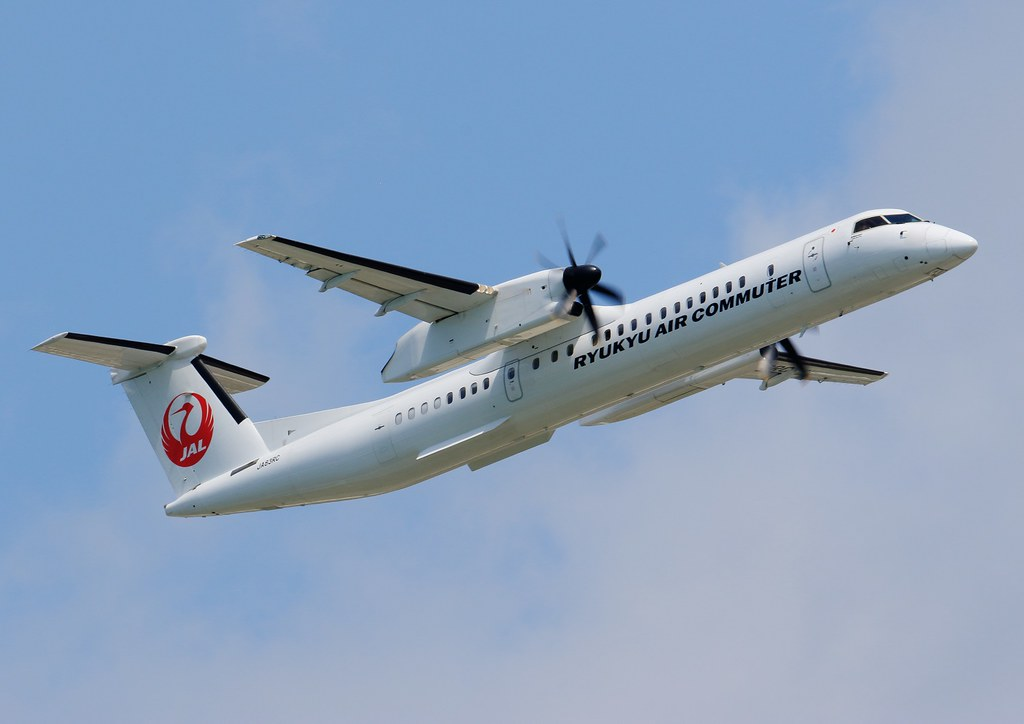 Ryukyu Air Commuter De Havilland Canada DHC 8 402Q Dash 8 Combi JA83RC at Naha Airport Okinawa