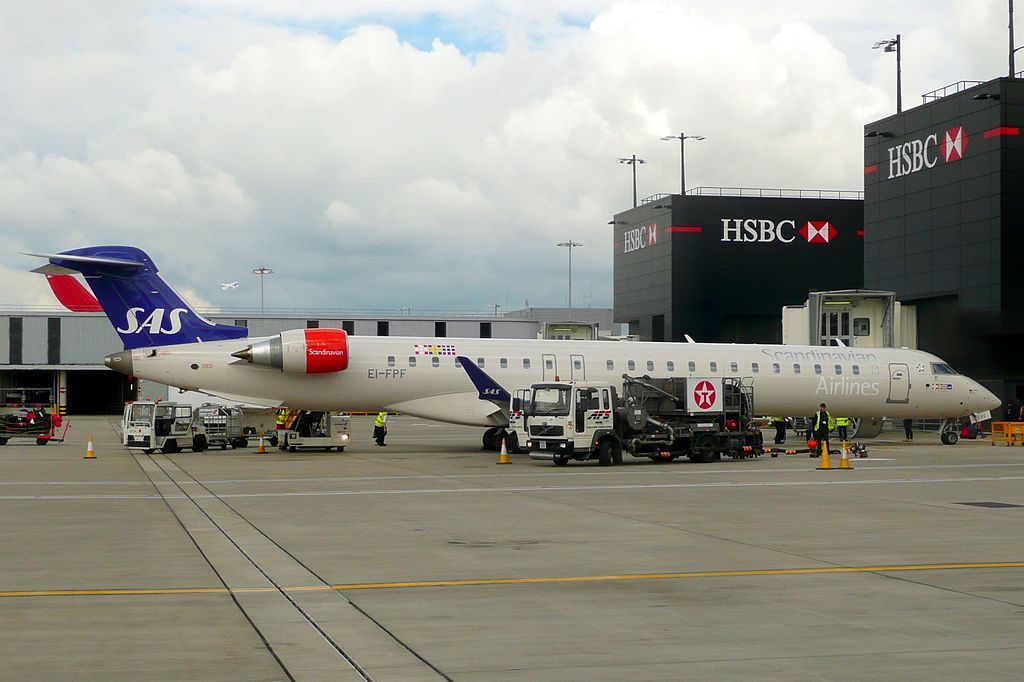 SAS Scandinavian Airlines Bombardier CRJ 900ER CL 600 2D24 EI FPF Cityjet Arna Viking at London Heathrow Airport