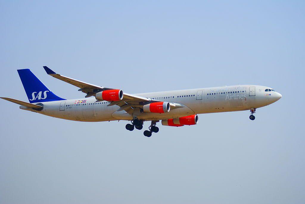 SAS Scandinavian Airlines System LN RKF Airbus A340 313 Godfred Viking landing at Tokyo Narita Airport