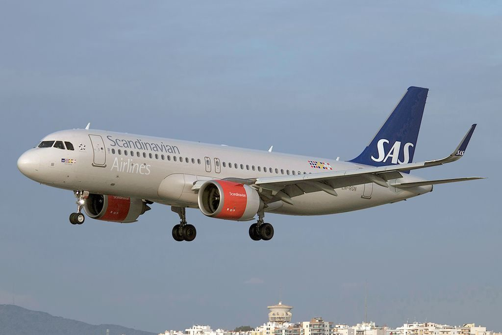 Scandinavian Airlines SAS Airbus A320 251N LN RGN Ulrik Viking at Faro Airport