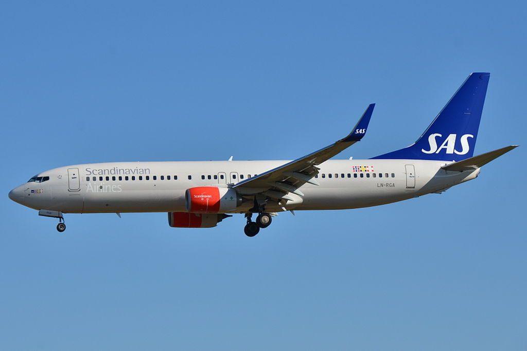 Scandinavian Airlines SAS Boeing 737 86NWL LN RGA Svarthöfde Viking at Barcelona Airport