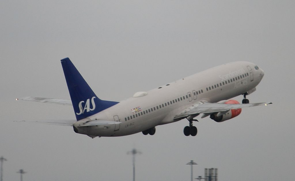 Scandinavian Airlines SAS Boeing 737 883 LN RCZ Glitne Viking at Manchester Airport