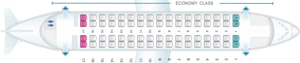 Seat Map and Seating Chart ATR 72 500 V1 Finnair NORRA Nordic Regional Airlines