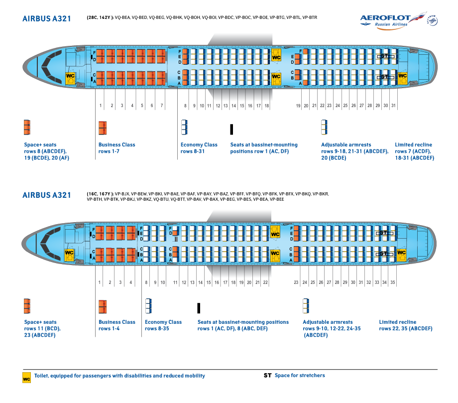 Seat Map and Seating Chart Airbus A321 200 Aeroflot