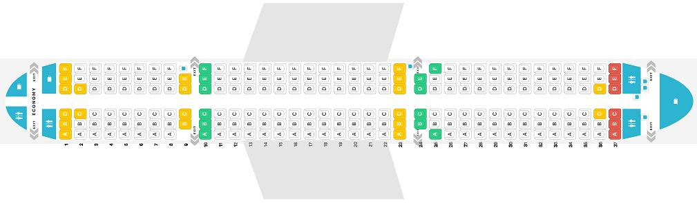 Seat Map and Seating Chart Airbus A321 200 V1 Jet2