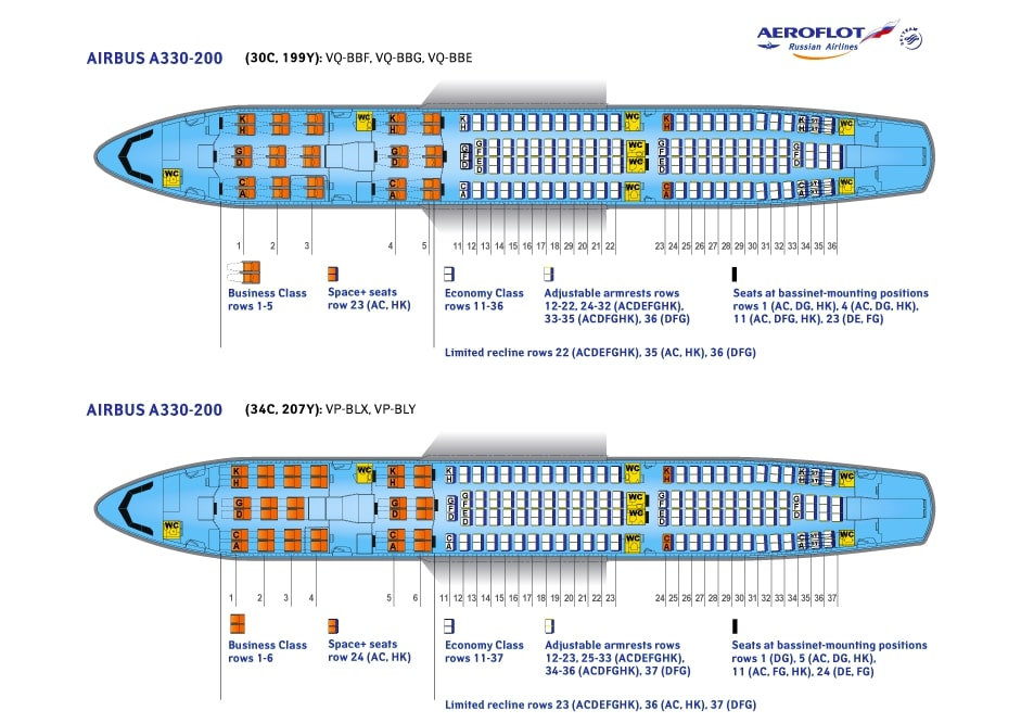 Seat Map and Seating Chart Airbus A330 200 Aeroflot