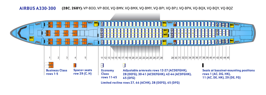 Seat Map and Seating Chart Airbus A330 300 V1 Aeroflot