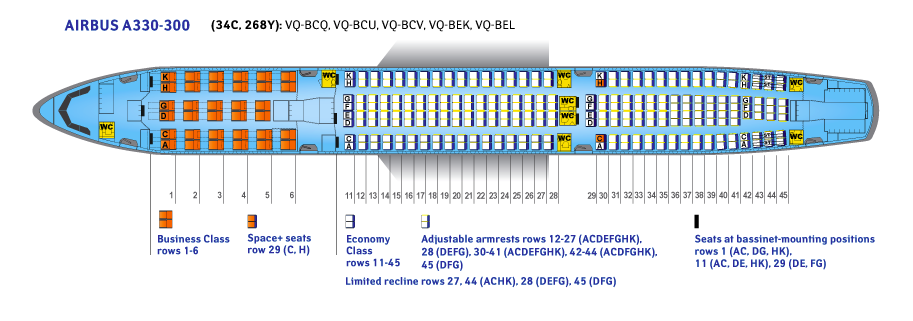 Seat Map and Seating Chart Airbus A330 300 V2 Aeroflot