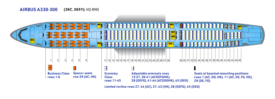 Seat Map and Seating Chart Airbus A330 300 V3 Aeroflot