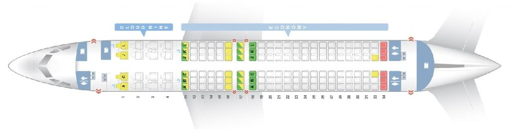 Seat Map and Seating Chart Boeing 737 800 Ethiopian Airlines