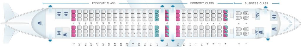 Seat Map and Seating Chart Boeing 737 800 V1 China Airlines