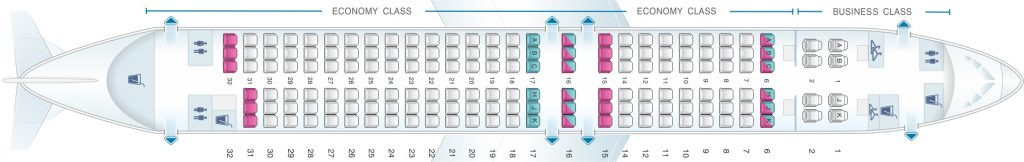 Seat Map and Seating Chart Boeing 737 800 V2 China Airlines