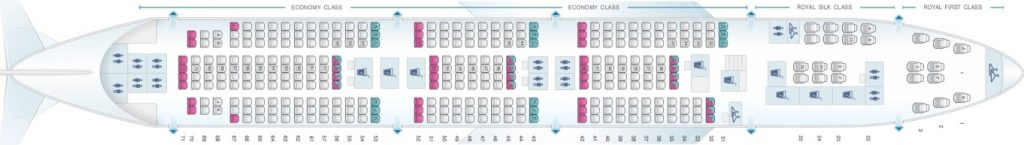 Seat Map and Seating Chart Boeing 747 400 Main Deck 74R 74N Thai Airways