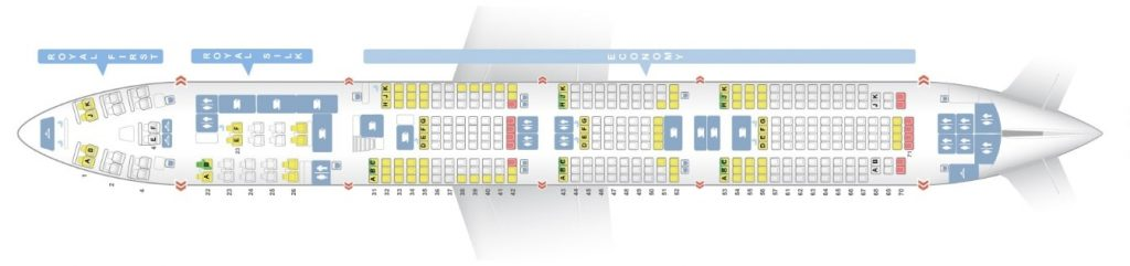 Seat Map and Seating Chart Boeing 747 400 Main Deck Old Version Layout Thai Airways