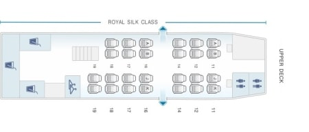 Seat Map and Seating Chart Boeing 747 400 Upper Deck 74R 74N Thai Airways
