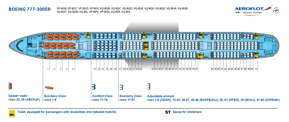 Seat Map and Seating Chart Boeing 777 300ER Aeroflot